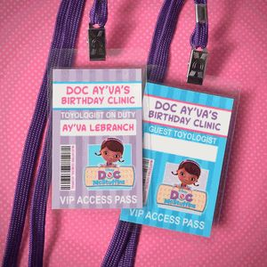 Doc McStuffins Personalized Birthday Party ID Badge Lanyard Favors