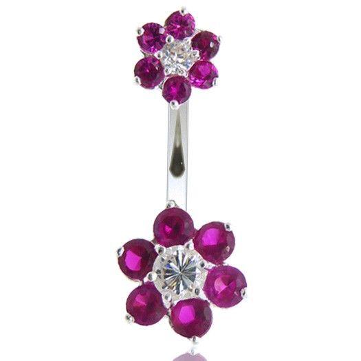 Bijou acier avec double motif fleur en argent. Grande sélection bijoux de piercing à découvrir sur notre boutique en ligne C-bo.fr