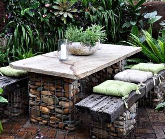 Stone And Wood Bench: Outdoor Seating Idea. Caged Bases Filled With Rocks