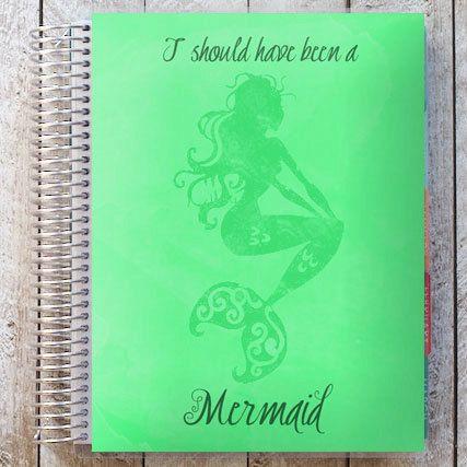 mermaid planner cover printable coral blue purple by PLPrintShop