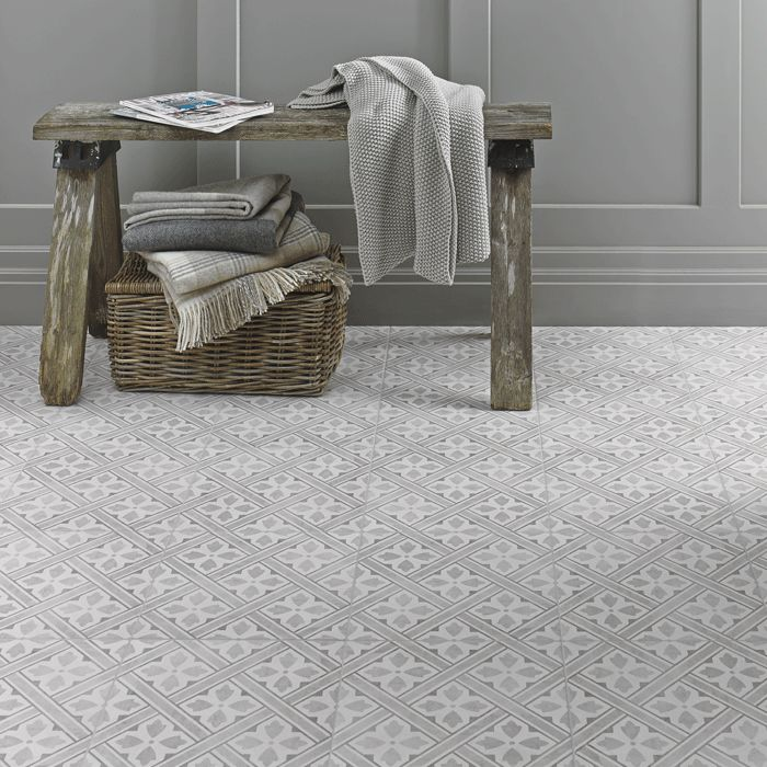 This Mr. Jones Dove Grey ceramic tile from the Heritage Collection is inspired by the Laura Ashley Archive; bringing timeless style to any room in your home. This square 331mm x 331mm grey tile was initially introduced in 1984. A classic floor tile design with historic influence Mr. Jones fits comfortably with the current trends for geometric patterns.