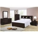 Jessica King Contemporary Bed with Storage Headboard and Built in Lighting by Coaster - Coaster Dealer Locator - Bookcase Bed