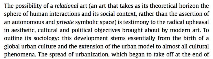 Nicholas Bourriad (1998)Relational Aesthetics - relational art and the symbolism of 'private' space