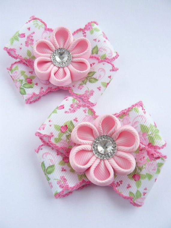 Handmade Kanzashi girls toddler baby hair от MARIASFLOWERPOWER