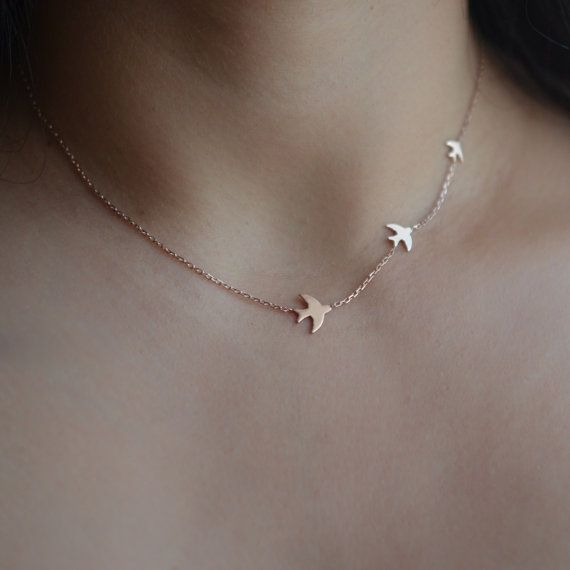 Soar Bird Necklace Delicate 3 Birds Necklace Dove by AtelyeSade
