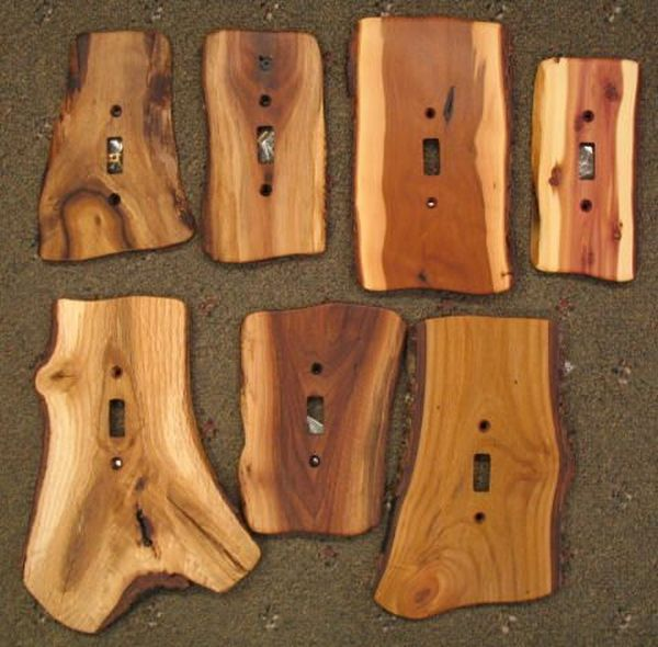 These rustic cedar switchplate covers will add a woodsy accent to any wall.