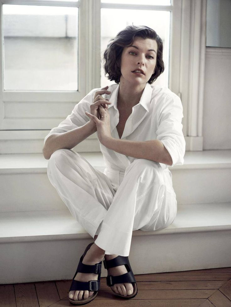 Milla Jovovich wears Birkenstocks in Net-a-Porter's online magazine.(Net-a-Porter's The Edit)