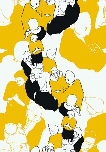 Marimekko Ystävät -tapetti, suunnittelija Maija Louekari. Kuosi muuttuu kauempaa katsottuna kauniiksi, graafiseksi kuvioksi ja lähempi tarkastelu paljastaa kiehtovat ihmishahmot. - Marimekko Ystävät wallpaper (friends in English), design Maija Louekari. Illustration turns in to a beautiful pattern when looked from a distance. Closer look reveals the human figures.