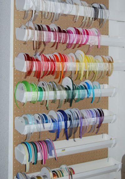 Rain gutter ribbon storage