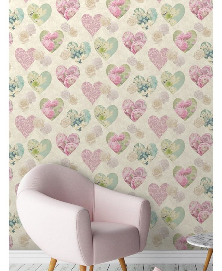 This stunning shabby chic inspired Floral Hearts wallpaper features beautiful hearts patterned with different floral motifs in tones of pink, green and teal. This is set on a soft cream background that features cream and beige roses and an intricate scroll design with a subtle metallic sheen.