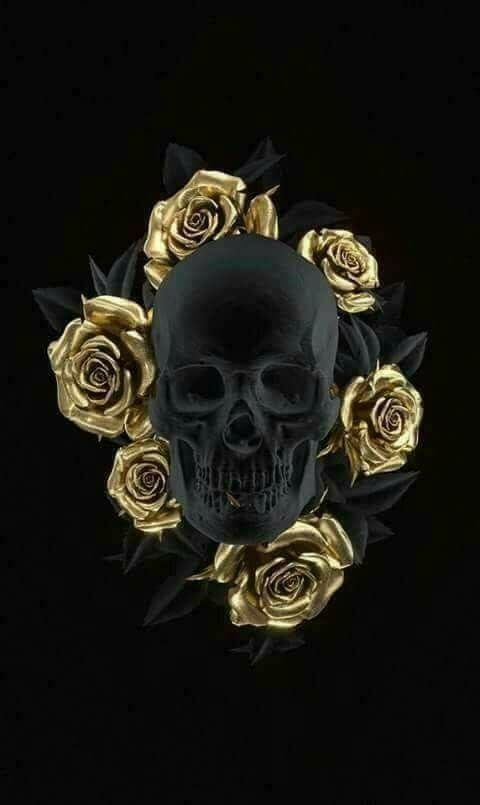 Black Skull and gold roses Skull artwork, Skull art