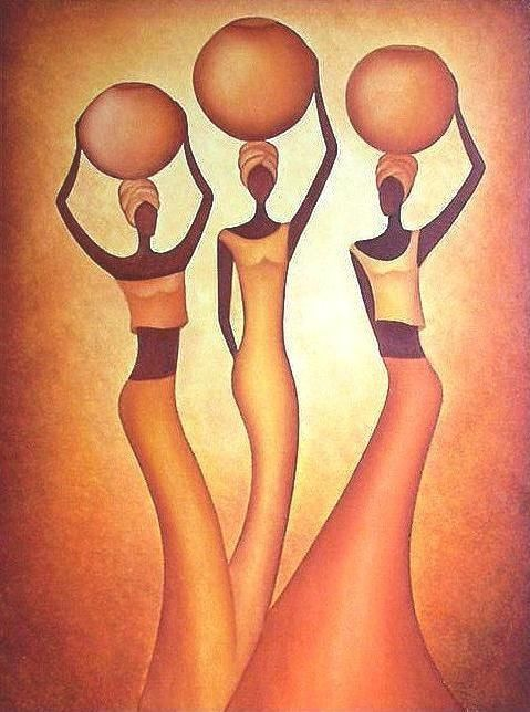 AFRICANA (Painting),  70x100 cm by Anita Burnaz Oil on canvas