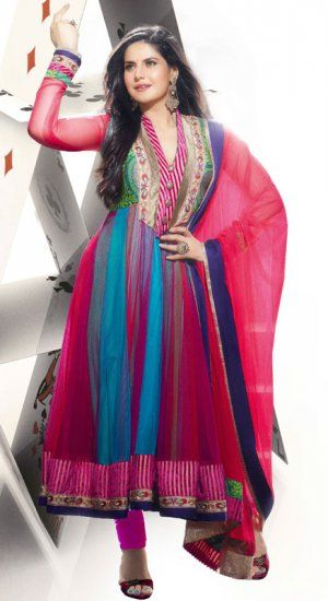 Beautiful Multi Color Net Bollywood Churidar Kameez HVK1814. Sale : $104.00