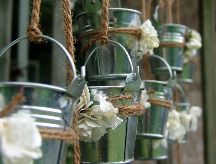 Rustic wedding favors mini galvanized pails Shabby by ilovethis, $22.50