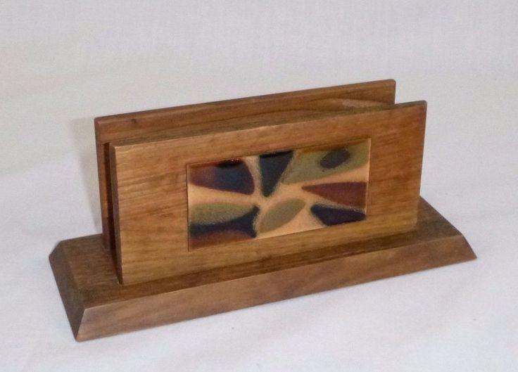 Vtg Mid Century Modern Walnut Letter Napkin Holder w Enameled Copper Design #MidCenturyModern