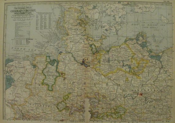 3 Pieces of German Empire North Southwestern and East **Check for Coupon Codes on Shop Front Page** Carefully taken from a 1904 Atlas. Page Size is 11.75 by 16 including margins. Actual Map Portion is 10.5 x 15 Crease at middle of Map due to being folded in book before. Browning in