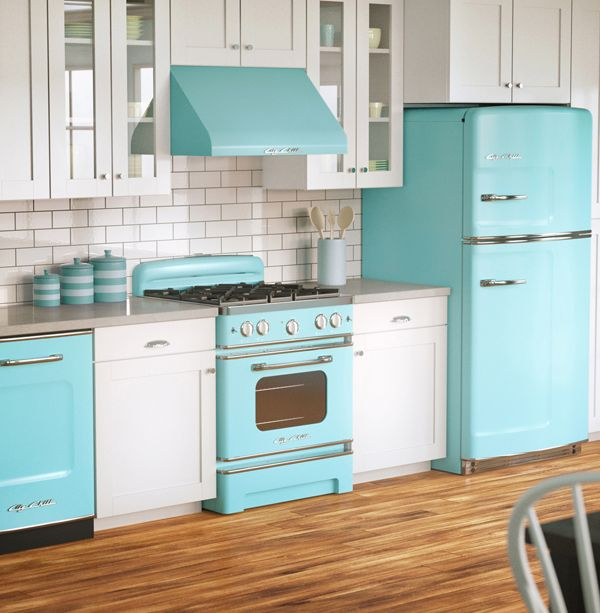 I love blue appliances - Big Chill, maker of retro refrigerators, now offers a full line of mid-century kitchen appliances.