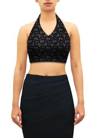 Black lace halter neck blouse. Design you own now on houseofblouse.com #saree…