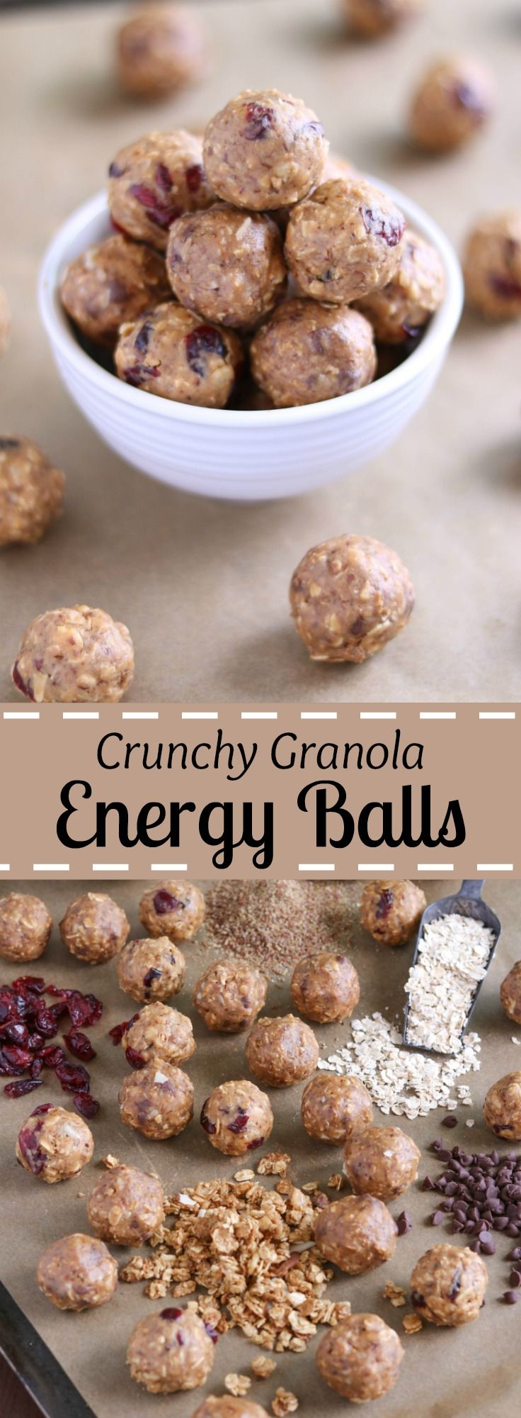 Freezable, no-bake Energy Balls with protein and whole grains! These Crunchy Granola Snack Bites will keep you satisfyingly full and power you through whatever the day might hold. A perfect healthy snack recipe, or a grab-and-go, make-ahead breakfast recipe! With peanut butter, oats, flax, and granola, plus dried fruit or chocolate chips - these energy bites are crunchy, chewy, and delicious! A healthy recipe with a few simple ingredients you probably have on hand…