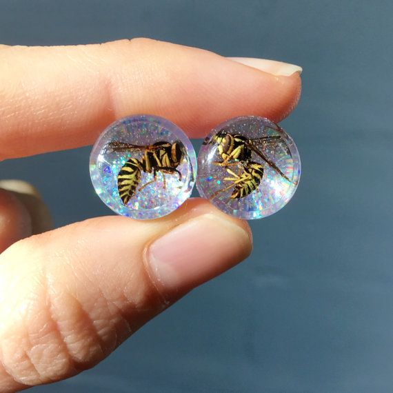 12mm Wasp Glitter Ear Plugs Gauges Pair 1/2 Creepy by MONIHOLLY118