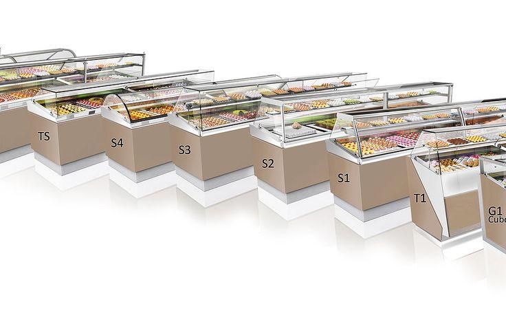 pastry, bread, gelato, ice cream, pizza display cases.