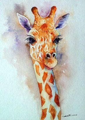 Jirafa Animal Original acuarela pintura 9 x 12 por artiart en Etsy