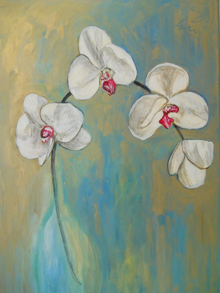 """""""White Orchids"""" Acrylics on canvas"""