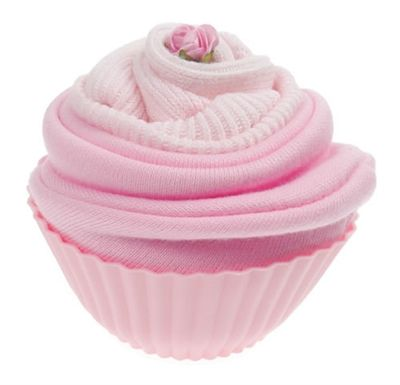 This cupcake contains a 100% cotton, pink double layered baby hat (size 0) and a pair of pink cotton baby socks (size 0-6 months).  It's wrapped and presented in a reusable silicone cupcake case. A sweet and unusual gift that is sure to be loved!