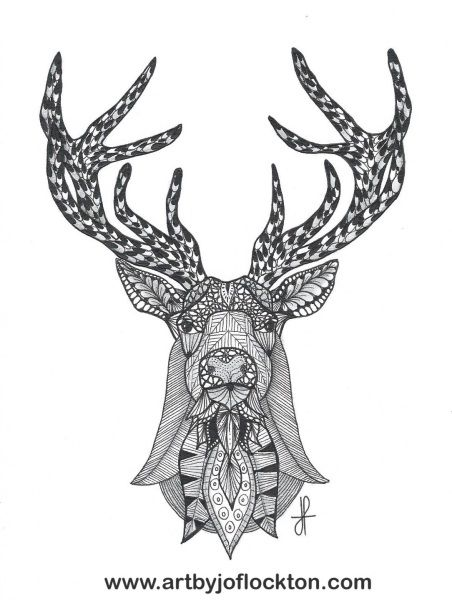 Tangled deer head adult colouring animals zentangles for Deer coloring pages for adults