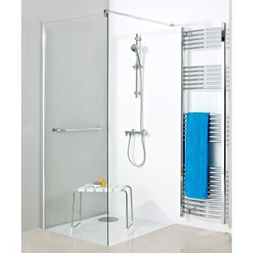 Handy shower seat, modern style shower. Phoenix Ambulant Collection Access Corner Shower Enclosure