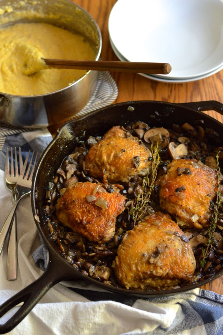 Braised Chicken Thighs with Mushrooms Skillet. A budget-friendly ...