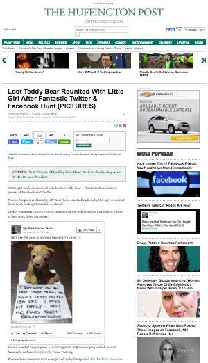 Huffington Post UK http://www.huffingtonpost.co.uk/2013/12/16/lost-teddy-bear-reunited-little-girl-fantastic-twitter-facebook-hunt_n_4452344.html