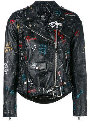 Shop Philipp Plein studded skull patch jacket.