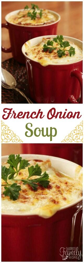 This French Onion Soup is way better than what I have had at most restaurants. The rich flavor of the broth paired with the gooey cheese is unbeatable! via @favfamilyrecipz