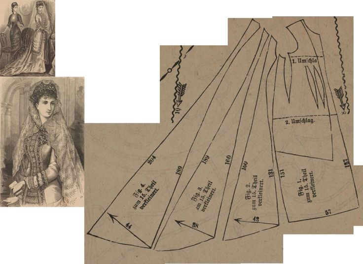 Der Bazar 1878: White atlas bridal gown; 1. front part, 2. and 3. side gores, 4. back part