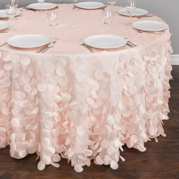 118 in. Round Rosette Satin Tablecloth Black