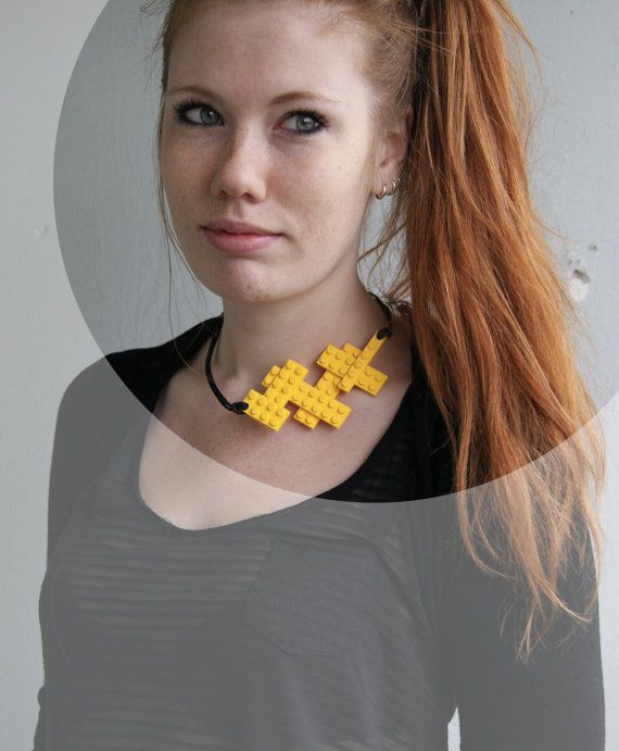 Yellow statement necklace Lego necklace by Renarderoussejewelry, kr290.00