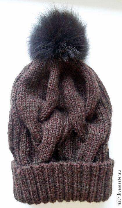 Зимняя шапочка с помпоном. - коричневый,шапочка вязаная,Шапочка с помпоном