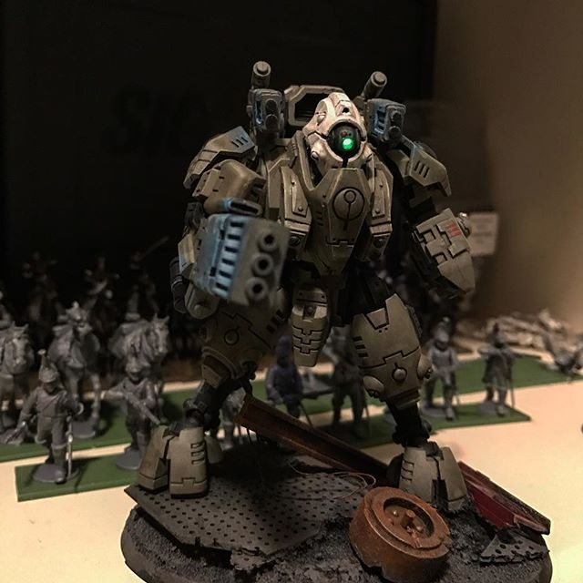 Every time I get dressed for work, I stare at this guy. It makes me want to flesh out my little Tau force.  Maybe just complete a formation or 500 point army. #gamesworkshop #ghostkeel #tauempire #mecha #ledlights