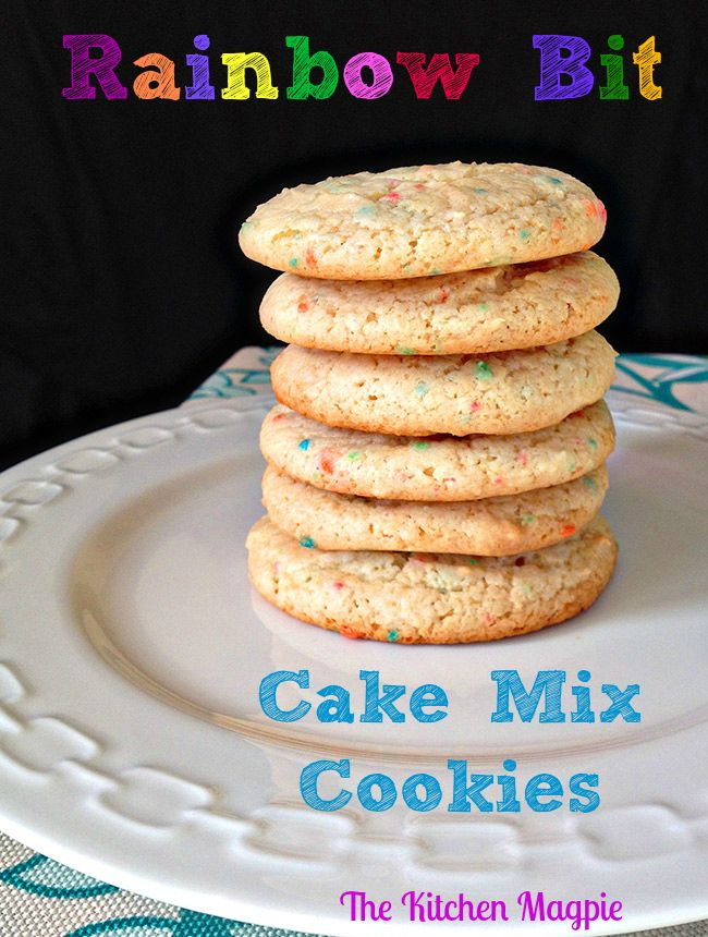 Rainbow Bit Cake Mix Cookies! Cute, easy and delicious! From @kitchenmagpie
