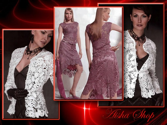 Crochet Patterns eBook Irish Lace Dresses Tops by AishaShop, $2.80