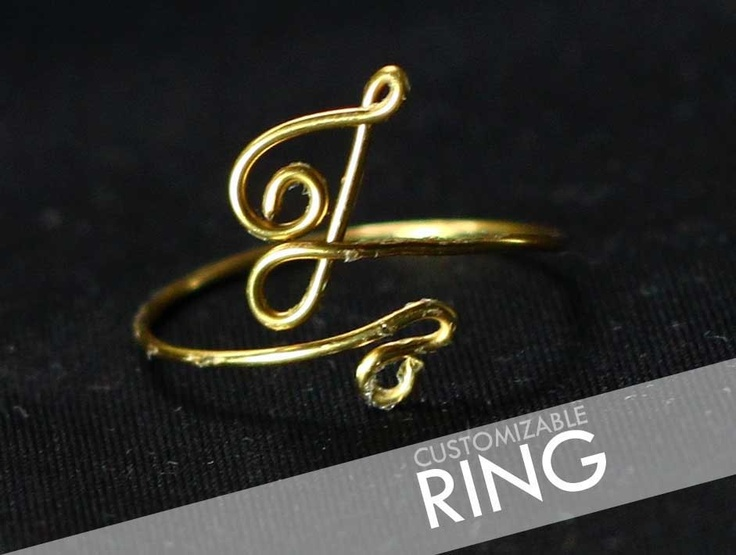 Gold Initial Ring Etsy