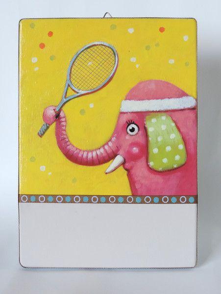 Decorazioni cameretta - Quadretto con un elefante che gioca a tennis. - un prodotto unico di MarcoSalogni su DaWanda