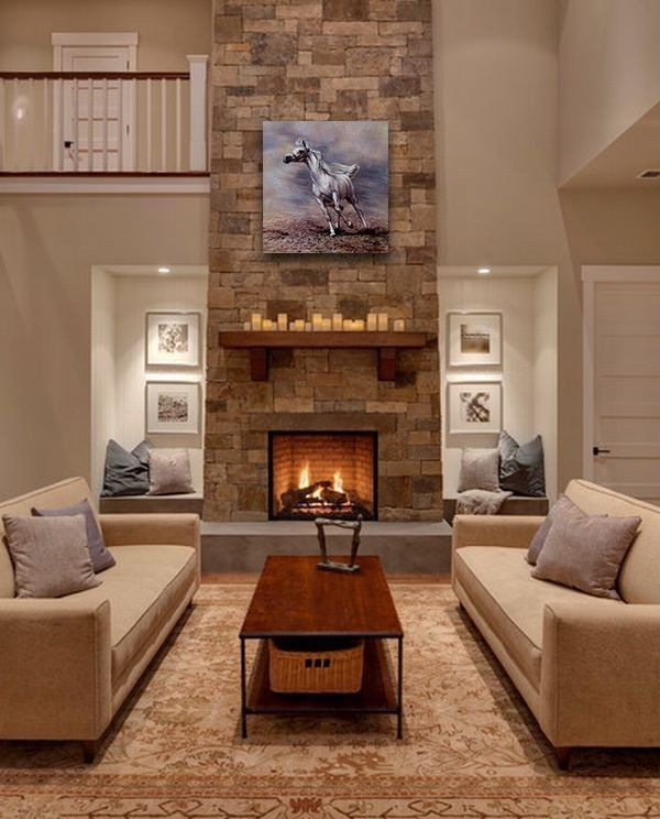 Horse Painting On Canvas Running Horse Animal Oil Paint Horse Etsy In 2021 Transitional Living Room Design Fireplace Design Stone Fireplace Designs Living room fireplace ideas 2021