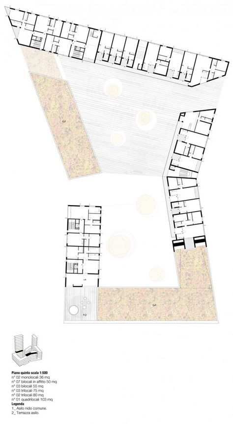 Social Housing in Milan / StudioWOK. fifth level plan                                                                                                                                                                                 More