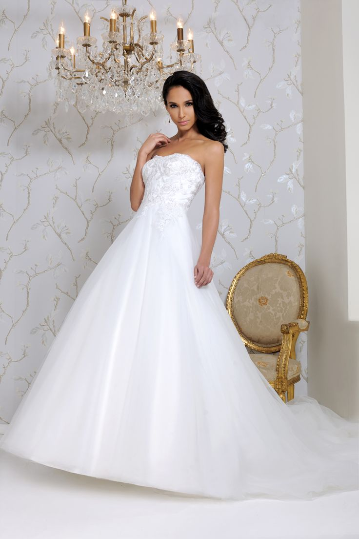 Ball gown style strapless dress, satin, tulle and lace with lace up back 2564 Naomi Hilton Bridal WS11 0DA