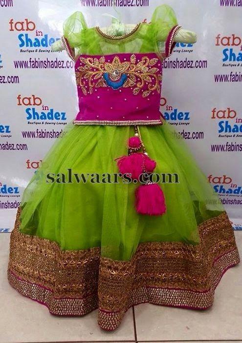 Maggam Work Blouse with Lehenga - Indian Dresses