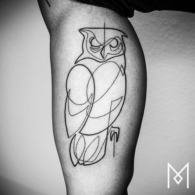 Incredible Tattoos Created Using A Single Continuous Line By Mo Ganji Simple Owl Tattoo, Simple Line Tattoo, One Line Tattoo, Line Art Tattoos, Simple Black Tattoos, Skull Tattoos, Arm Tattoo, Mens Owl Tattoo, Tattoo Owl