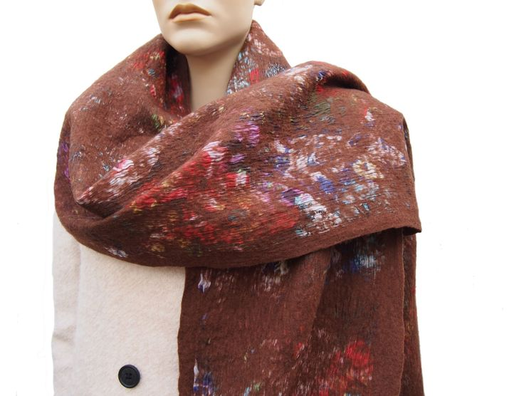 Women's Merino Wool scarf brown with floral print in warm autumn colors, fine structure, soft, supple, warm, an special accessories for her. door RiViDesign op Etsy