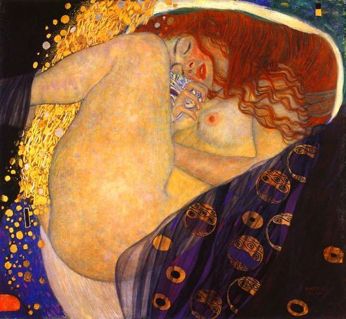 Gustav Klimt. Danaë with thighs drawn up, gold/silver seminal flow rising between her kegs. The legend concerns her mating w/Zeus in the form of a gold shower, to conceive Perseus. The eroticism is highly intentional: the red hair, etc. the small black rectangle is Klimt's reduction of maleness to an abstract symbol